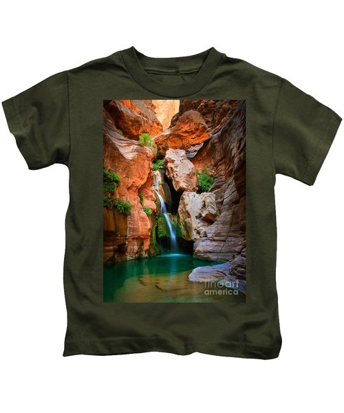 Elves Chasm Kids T-Shirt by Inge Johnsson