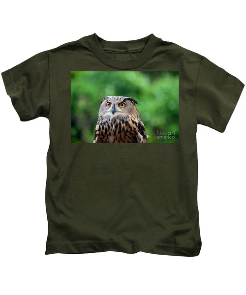 Eurasian Or European Eagle Owl Bubo Bubo Stares Intently Kids T-Shirt