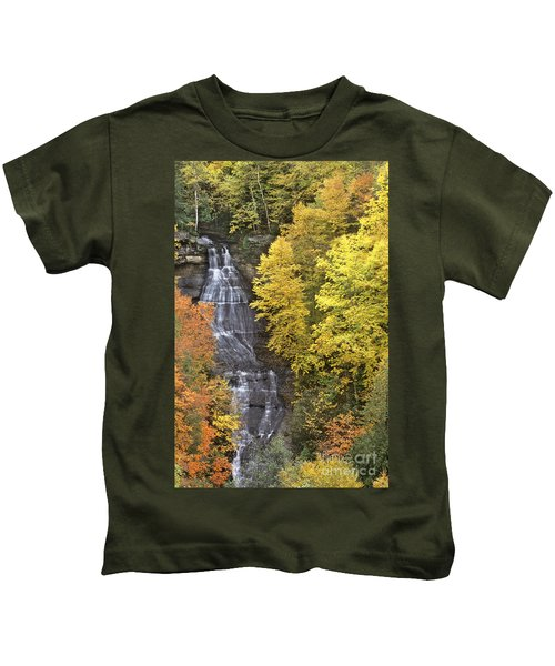 Fall Color Surrounds Chapel Falls On The Michigan Upper Peninsula Kids T-Shirt