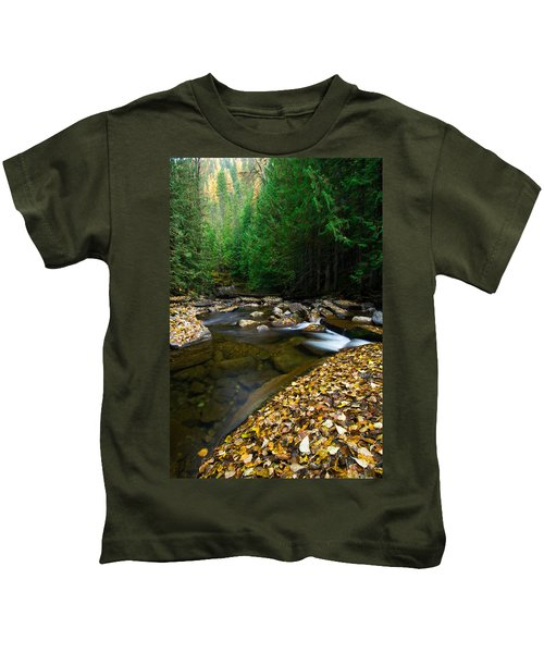 Fallen Autumn Color Leaves And Forest Kids T-Shirt