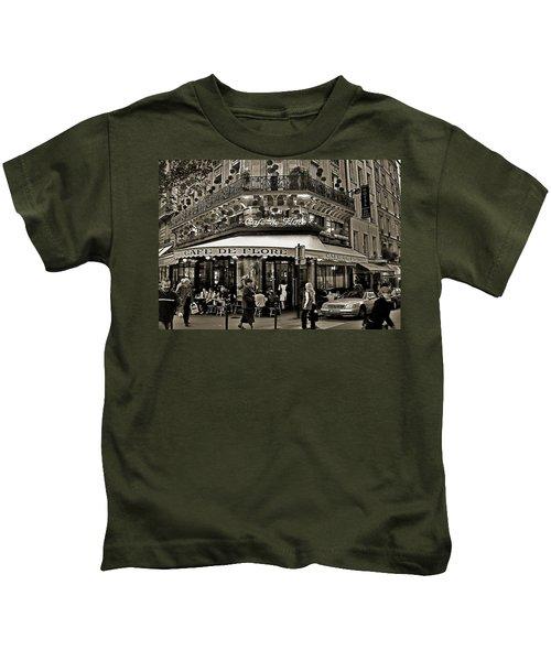 Famous Cafe De Flore - Paris Kids T-Shirt