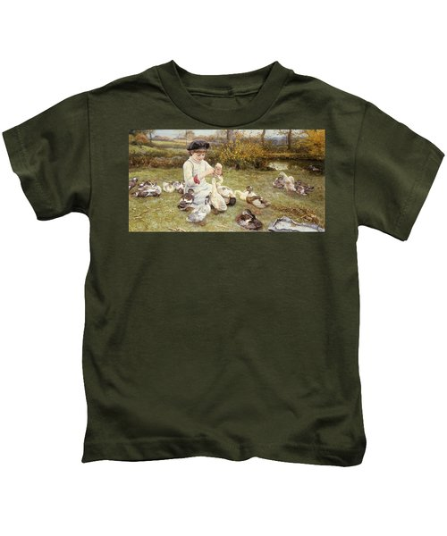 Feeding Ducks Kids T-Shirt