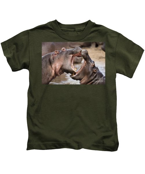 Fighting Hippos Kids T-Shirt by Richard Garvey-Williams