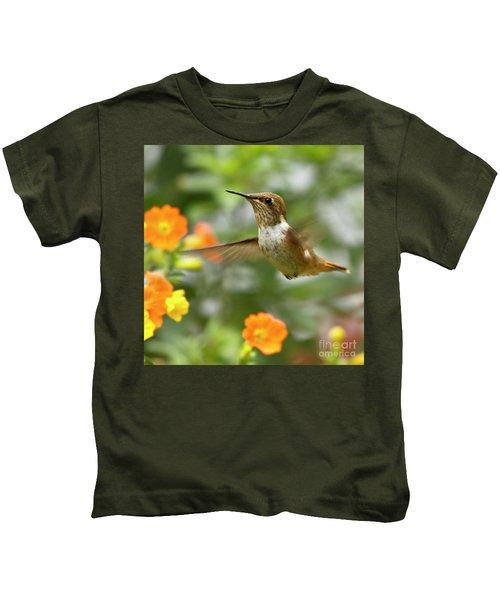Flying Scintillant Hummingbird Kids T-Shirt