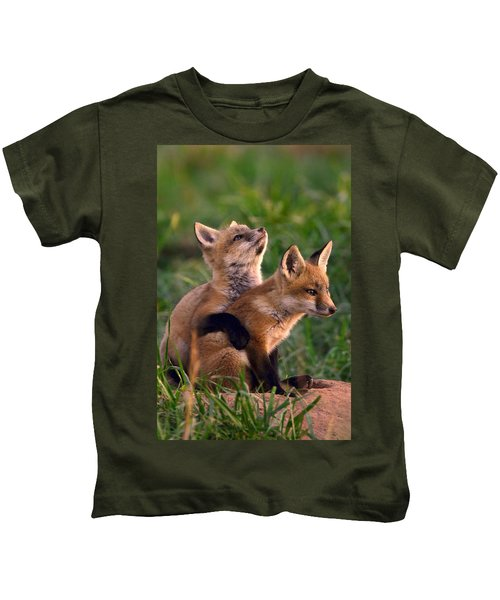 Kids T-Shirt featuring the photograph Fox Cub Buddies by William Jobes