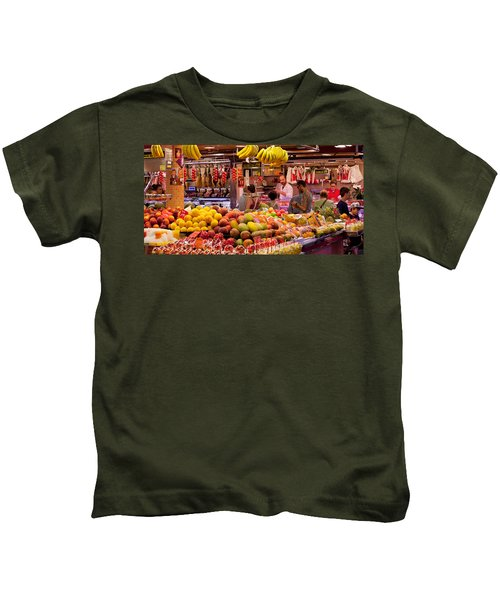 Fruits At Market Stalls, La Boqueria Kids T-Shirt by Panoramic Images