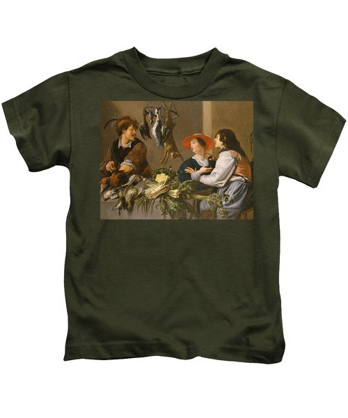 Game And Vegetable Sellers Oil On Canvas Kids T-Shirt by Theodor Rombouts