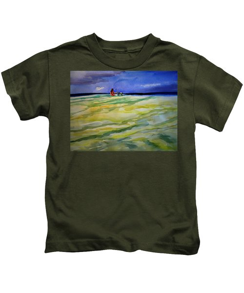 Girl With Dog On The Beach Kids T-Shirt