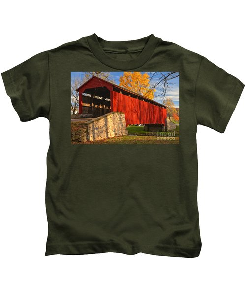 Gold Above The Poole Forge Covered Bridge Kids T-Shirt