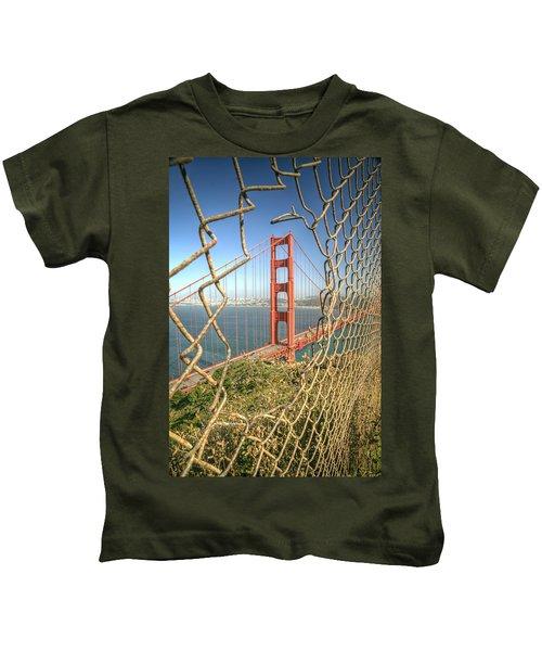 Golden Gate Through The Fence Kids T-Shirt