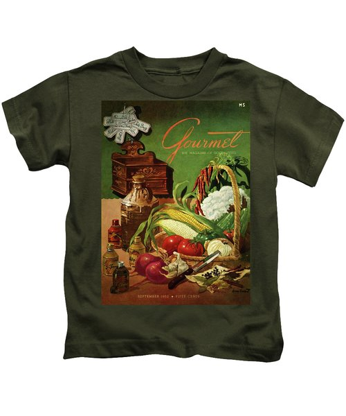 Gourmet Cover Featuring A Variety Of Vegetables Kids T-Shirt by Henry Stahlhut