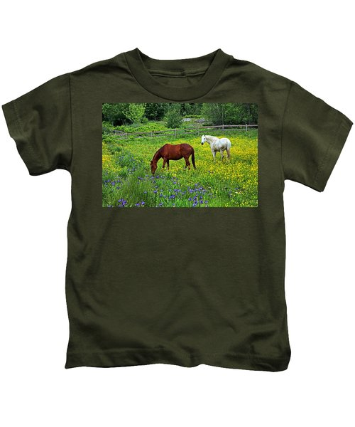 Grazing Amongst The Wildflowers Kids T-Shirt