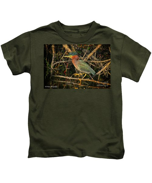 Green Heron Basking In Sunlight Kids T-Shirt