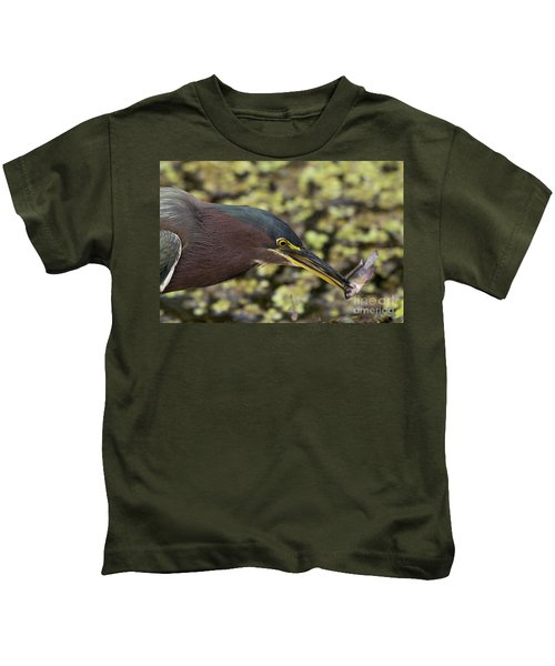 Green Heron Fishing Kids T-Shirt