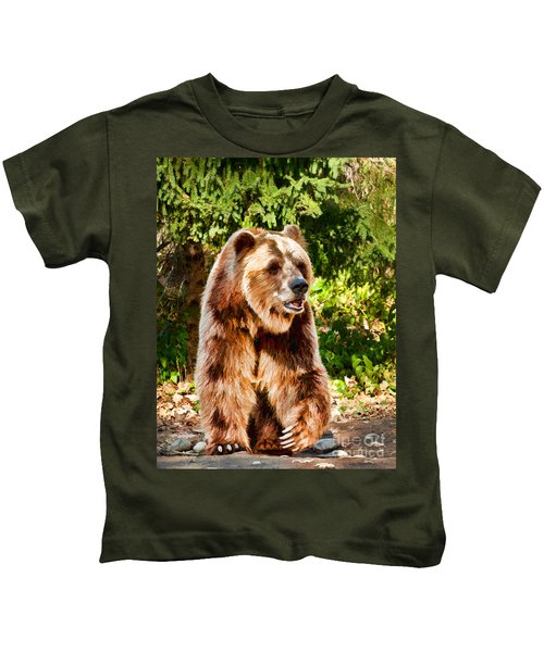 Grizzly Bear - Painterly Kids T-Shirt