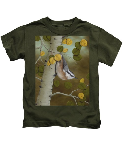 Hanging Around-red Breasted Nuthatch Kids T-Shirt