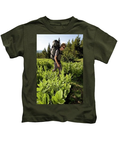 Hikers In Forest In Colorado Kids T-Shirt