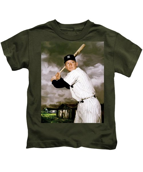 American Fabric   Mickey Mantle Kids T-Shirt by Iconic Images Art Gallery David Pucciarelli