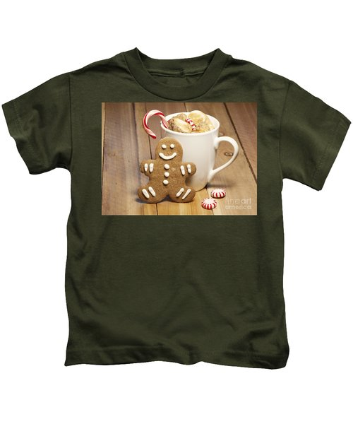 Hot Chocolate Toasted Marshmallows And A Gingerbread Cookie Kids T-Shirt