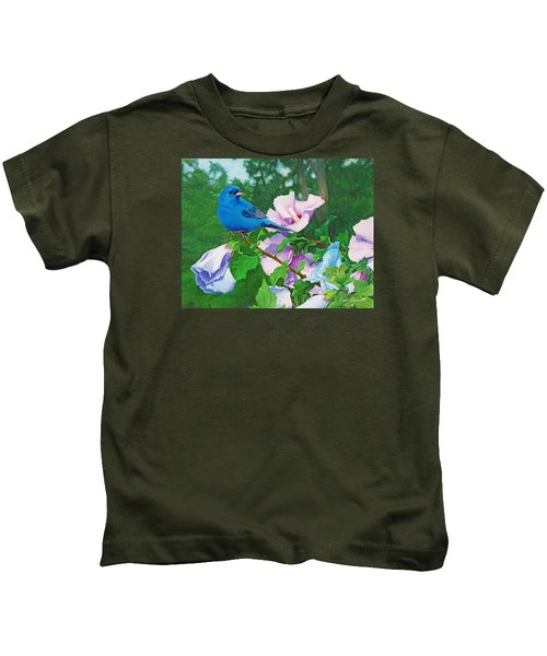 Indigo Bunting  Kids T-Shirt by Ken Everett