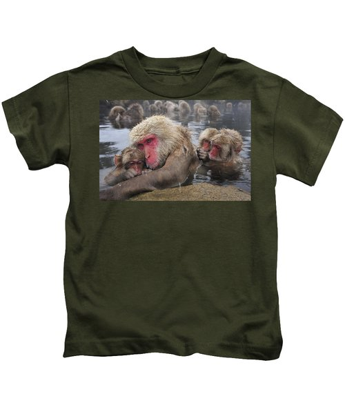 Japanese Macaque Grooming Mother Kids T-Shirt