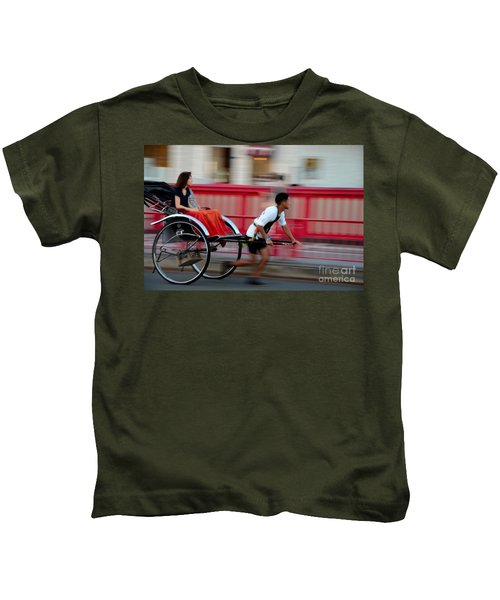 Japanese Tourists Ride Rickshaw In Tokyo Japan Kids T-Shirt