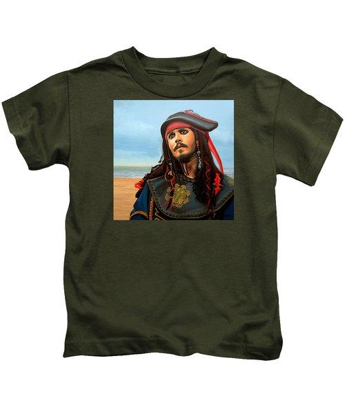 Johnny Depp As Jack Sparrow Kids T-Shirt by Paul Meijering