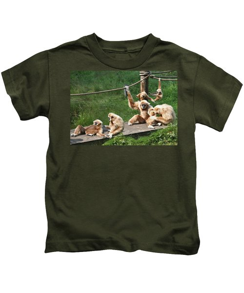 Joyful Monkey Family Kids T-Shirt