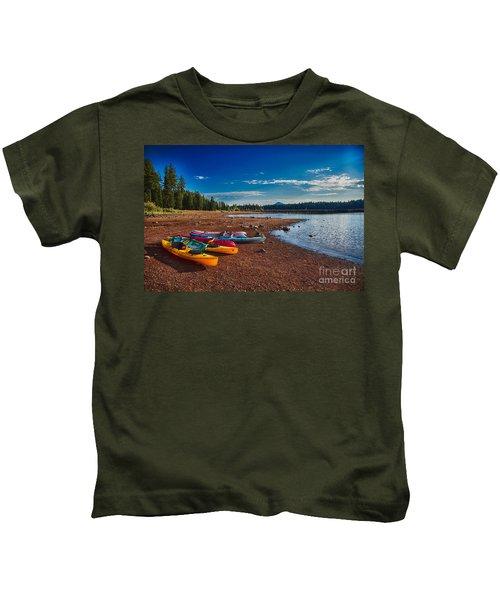 Kayaking On Howard Prairie Lake In Oregon Kids T-Shirt