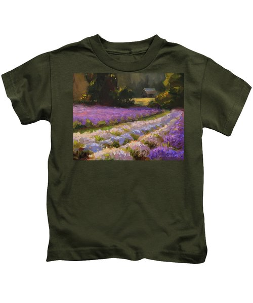 Lavender Farm Landscape Painting - Barn And Field At Sunset Impressionism  Kids T-Shirt