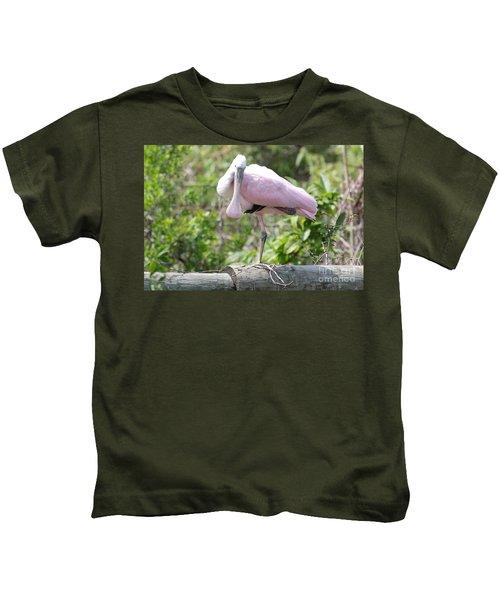 Light Pink Roseate Spoonbill Kids T-Shirt by Carol Groenen
