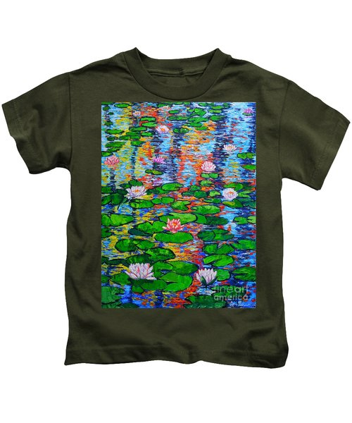 Lily Pond Colorful Reflections Kids T-Shirt