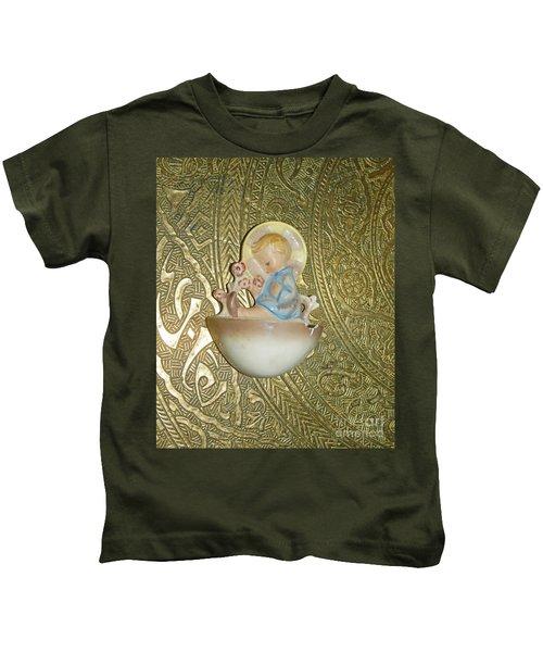 Newborn Boy In The Baptismal Font Sculpture Kids T-Shirt