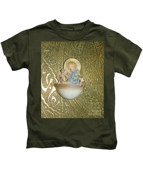 Newborn Boy In The Baptismal Font Sculpture Kids T-Shirt