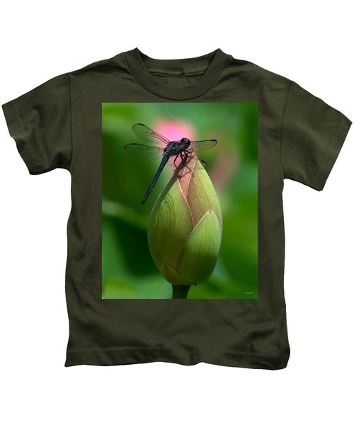 Lotus Bud And Slatey Skimmer Dragonfly Dl006 Kids T-Shirt