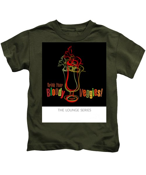 Lounge Series - Drink Your Bloody Veggies Kids T-Shirt by Mary Machare