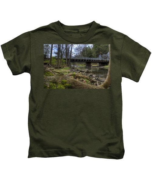 Majestic Bridge In The Woods Kids T-Shirt