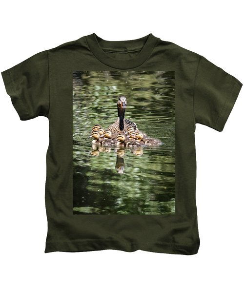 Mallard Hen With Ducklings And Reflection Kids T-Shirt
