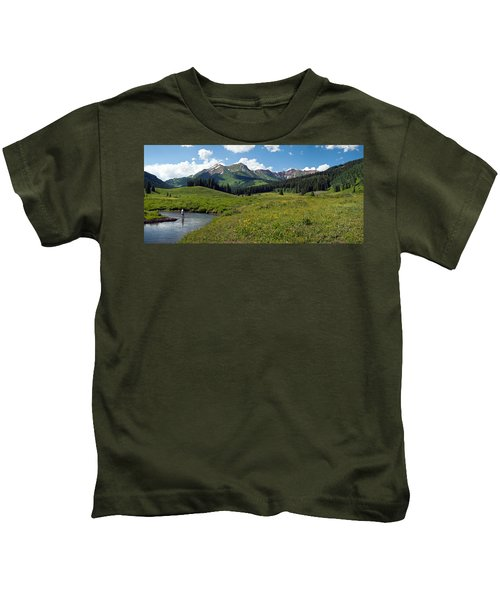 Man Fly-fishing In Slate River, Crested Kids T-Shirt