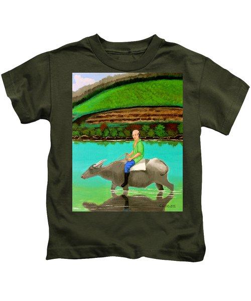 Man Riding A Carabao Kids T-Shirt