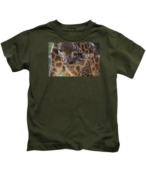 Masai Giraffe And Calf Kids T-Shirt