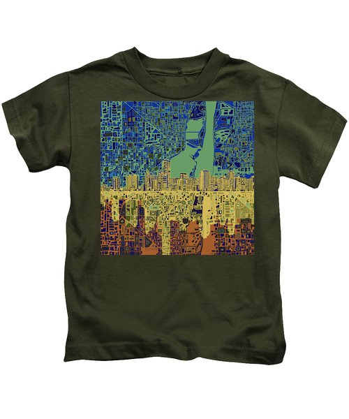 Miami Skyline Abstract 7 Kids T-Shirt