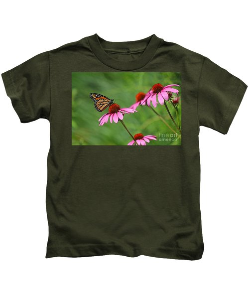 Monarch On Garden Coneflowers Kids T-Shirt