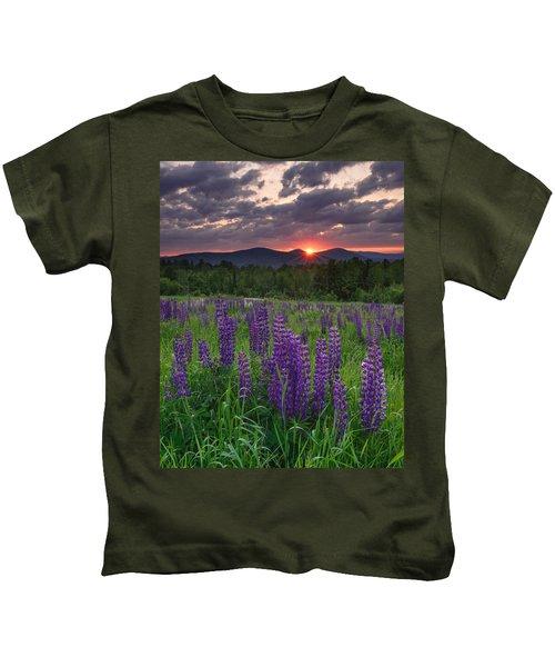 Moody Sunrise Over Lupine Field Kids T-Shirt