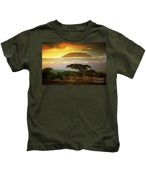 Mount Kilimanjaro Savanna In Amboseli Kenya Kids T-Shirt