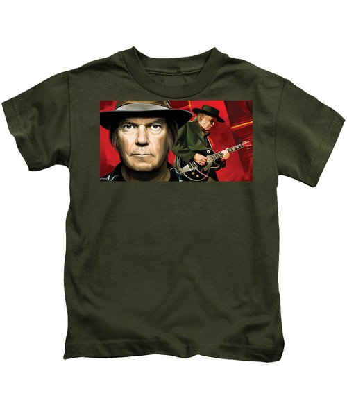 Neil Young Artwork Kids T-Shirt by Sheraz A