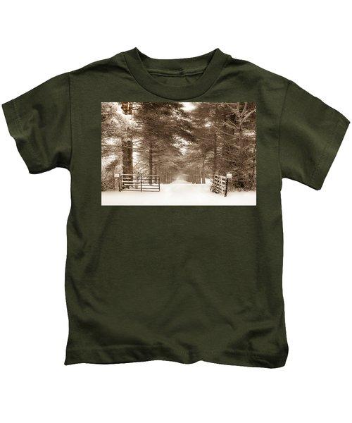 No Trespassing - Sepia Kids T-Shirt