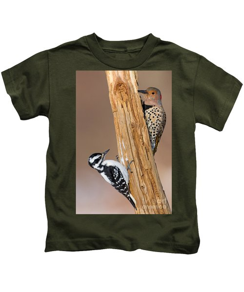 Northern Flicker And Hairy Woodpecker Kids T-Shirt