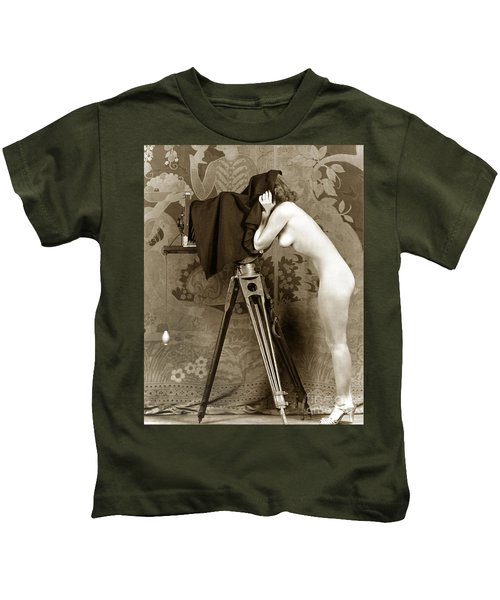 Nude In High Heel Shoes With Studio Camera Circa 1920 Kids T-Shirt