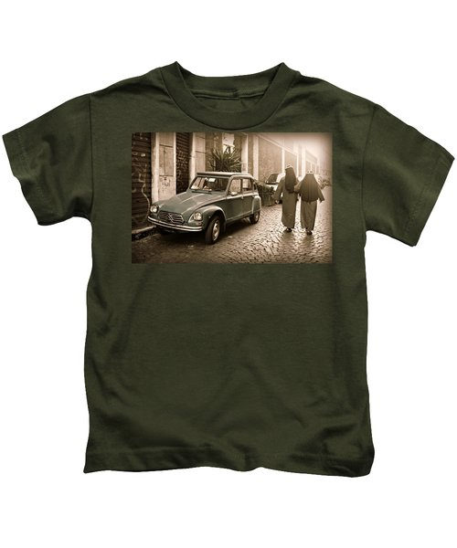 Nuns With Vintage Car Kids T-Shirt